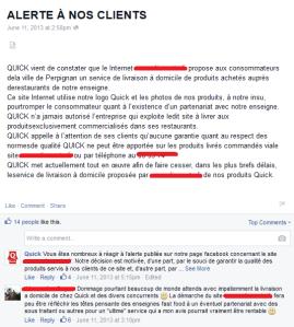 L'information des clients sur Facebook est essentielle pour désamorcer des crises touchant la réputation de Quick.