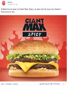 Sur Facebook, Quick met en avant ses nouveaux produits. Le message tourne autour du goût.
