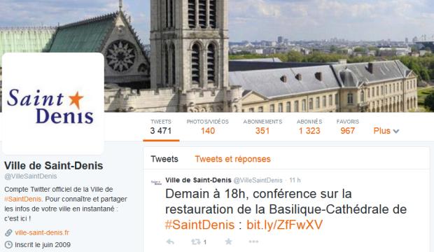 La cover Twitter montre la basilique de Saint-Denis, cœur de la ville et point de repère pour tous les habitants.