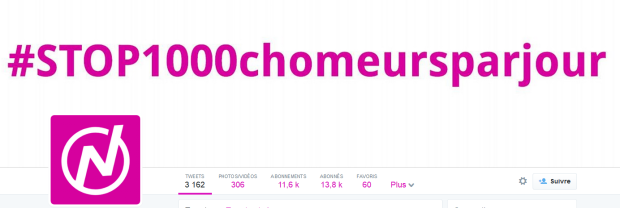 Cover Twitter du compte Nouvelle Donne, qui met en avant un hashtag percutant