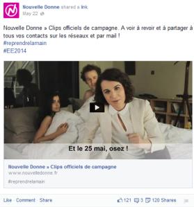 Pendant les élections européennes, le compte facebook mobilise les sympathisants et les électeurs avec un lien vers une vidéo présente sur la chaîne youtube de Nouvelle Donne.