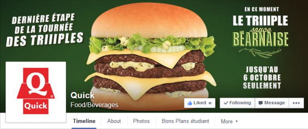 Cover Facebook de la page Quick