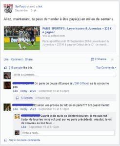 La page Facebook permet de mettre en avant les pronostics sportifs, un point fort de la présence numérique de So Foot