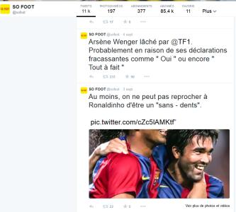 Le compte Tweeter de So Foot excelle dans l'art de la petite phrase percutante et du news jacking